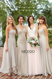 Elegant Gray Four Styles A Line Empire Waist Bridesmaid Dresses Prom Dresses