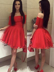 Red Off Shoulder Half Sleeves Satin Homecoming Dresses Short Cocktail Dresses - NICEOO