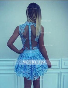 Blue Round Neck Sleeveless Mini Homecoming Dresses Cheap Cocktail Dresses - NICEOO