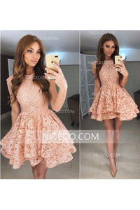A Line Round Neck Sleeveless Mini Lace Homecoming Dresses Cocktail Dresses - NICEOO