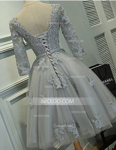 Elegant Gray A Line Round Neck Long Sleeves Lace Homecoming Dresses Prom Dresses - NICEOO