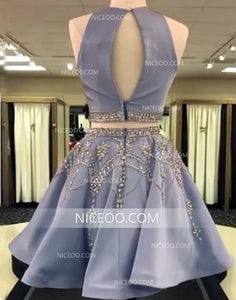 Blue Two Pieces Halter Cut Out Satin Homecoming Dresses Cheap Cocktail Dresses