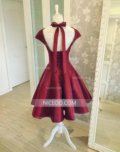 Burgundy Sweetheart Cap Sleeves Satin Knee Length Homecoming Dresses Cocktail Dresses - NICEOO