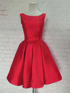 Red Round Neck Sleeveless Open Back Knee Length Homecoming Dresses Cocktail Dresses