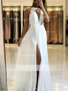 Navy Blue Halter Side Split Prom Dresses,Long Open Back Evening Dresses - NICEOO