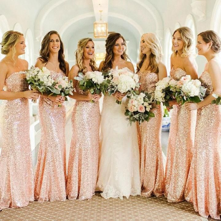 Sexy Rose Gold Sweetheart Empire Waist Mermaid Sequin Bridesmaid Dresses Prom Dresses