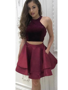 Burgundy Halter Two Pieces Open Back Mini Homecoming Dresses Cocktail Dresses - NICEOO