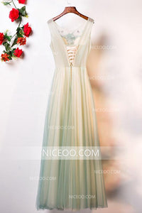 Round Neck Sleeveless Long Prom Dresses Tulle Evening Dresses With Appliques - NICEOO