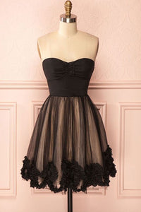 Black A Line Sweetheart Knee Length Homecoming Dresses Satin Cocktail Dresses