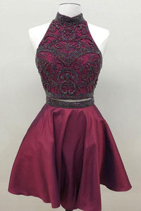 Burgundy Two Pieces Halter Homecoming Dresses Short Cocktail Dresses With Beading - NICEOO