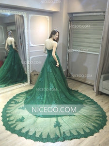 Green Sweetheart Open Back Lace Cathedral Train Wedding Dresses