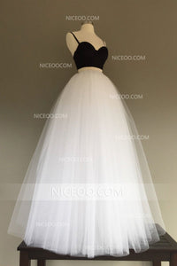 Simple Spaghetti Strap Sweetheart Two Pieces Tulle Homecoming Dresses Best Prom Dresses