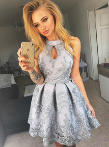 Gray A Line Halter Cut Out Lace Mini Homecoming Dresses Cocktail Dresses With Appliques