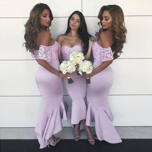 Sexy Lilac Off Shoulder Sweetheart Mermaid Satin Bridesmaid Dresses Evening Dresses