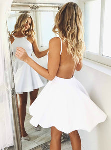 White Sexy Round Neck Sleeveless Open Back Mini Homecoming Dresses Cheap Cocktail Dresses