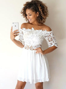White Off Shoulder Half Sleeves Mini Homecoming Dresses Lace Cocktail Dresses