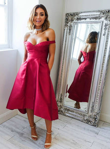 Burgundy Off Shoulder Open Back Tea Length Homecoming Dresses Prom Dresses