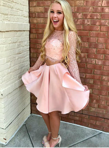 Pink Two Pieces Long Sleeves Satin Homecoming Dresses Cocktail Dresses - NICEOO