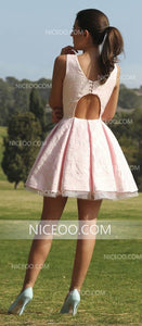 Pink Round Neck Sleeveless Cut Out Satin Homecoming Dresses Mini Cocktail Dresses - NICEOO