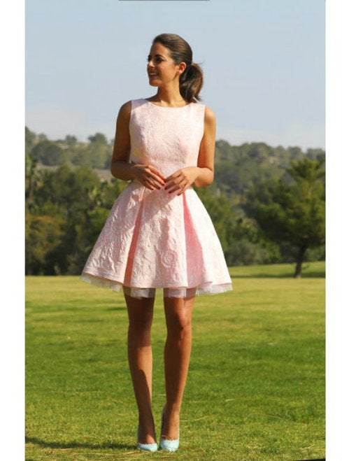 3603f43ffa089 Pink Round Neck Sleeveless Cut Out Satin Homecoming Dresses Mini Cocktail  Dresses - NICEOO