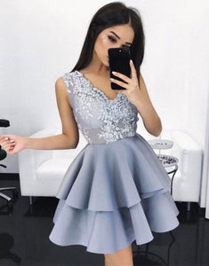 Gray Round Neck Sleeveless Homecoming Dresses Mini Cocktail Dresses