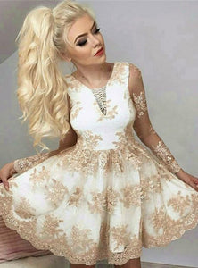 A Line Strap Long Sleeves Lace Homecoming Dresses Mini Cocktail Dresses - NICEOO