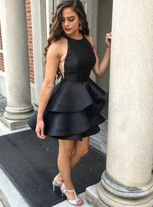 Sexy Black Halter Satin Homecoming Dresses Mini Cocktail Dresses - NICEOO