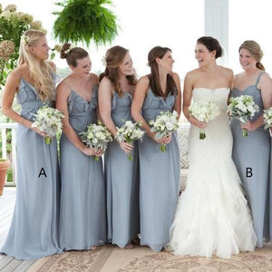 Simple Gray Spaghetti Strap V Neck Empire Waist Chiffon Bridesmaid Dresses Prom Dresses
