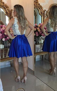 A Line Sweetheart Sleeveless Open Back Homecoming Dresses Cocktail Dresses - NICEOO