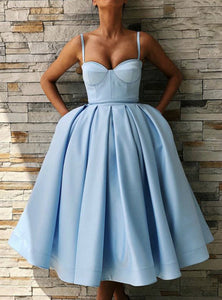 Blue Spaghetti Strap Sweetheart Tea Length Homecoming Dresses Cocktail Dresses - NICEOO
