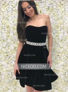 Red A Line Strapless Knee Length Homecoming Dresses Cocktail Dresses - NICEOO