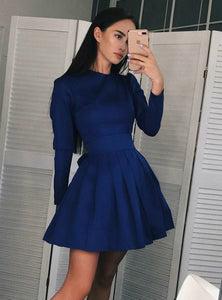 Navy Blue A Line Round Neck Long Sleeves Mini Homecoming Dresses Cocktail Dresses - NICEOO