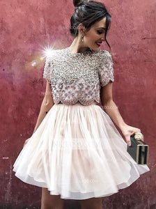 Cute Two Pieces Round Neck Short Sleeves Mini Homecoming Dresses Cocktail Dresses With Beading - NICEOO