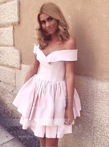 Pale Pink A Line Off Shoulder Satin Mini Homecoming Dresses Cheap Cocktail Dresses