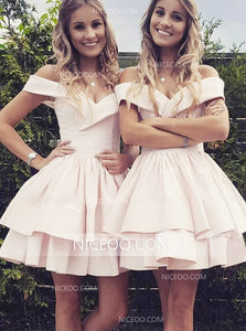 Pale Pink A Line Off Shoulder Satin Mini Homecoming Dresses Cheap Cocktail Dresses - NICEOO