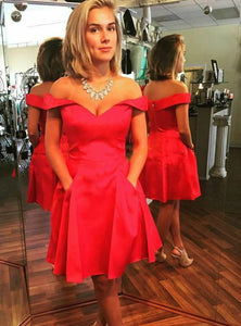 Red Off Shoulder Sweetheart Short Homecoming Dresses Cocktail Dresses - NICEOO