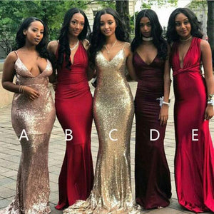 Sexy Red Five Styles V Neck Slim-Line Open Back Mermaid Sequin Prom Dresses Evening Dresses