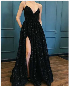 Black Sequins graduation Dress Fashion Luxury Prom Dress Sexy evening Dress