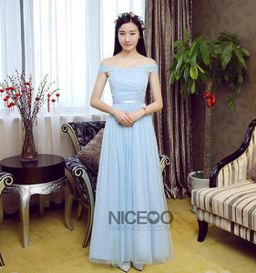 Elegant Blue Four Styles A Line Sleeveless Empire Waist Tulle ridesmaid Dresses Evening Dresses
