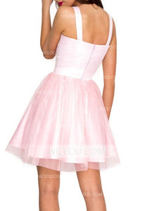 Pink Strap Sweetheart Open Back Mini Homecoming Dresses Cocktail Dresses