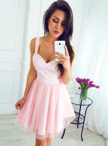 Pink Strap Sweetheart Open Back Mini Homecoming Dresses Cocktail Dresses - NICEOO