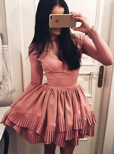 A Line V Neck Long Sleeves Satin Homecoming Dresses Mini Cocktail Dresses - NICEOO
