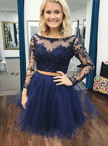 Navy Blue Two Pieces Round Neck Long Sleeves Homecoming Dresses Cocktail Dresses - NICEOO