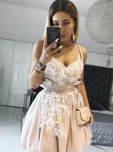 A Line Spaghetti Strap V Neck Homecoming Dresses Short Cocktail Dresses - NICEOO