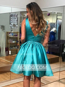 A Line V Neck V Back Knee Length Homecoming Dresses Cocktail Dresses - NICEOO