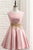 Pink A Line Round Neck Sleeveless Knee Length Homecoming Dresses Cocktail Dresses - NICEOO