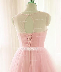 Pink Sweetheart Cut Out Tulle Knee Length Homecoming Dresses Cocktail Dresses