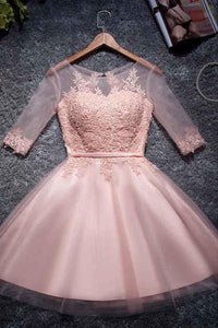 Pink Round Neck Half Sleeves Tulle Homecoming Dresses Short Cocktail Dresses - NICEOO