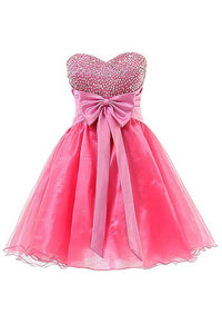 A Line Strapless Mini Homecoming Dresses Cocktail Dresses With Bow And Beading - NICEOO