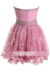 Pink Sweetheart Open Back Mini Homecoming Dresses Cocktail Dresses With Rhinestone - NICEOO